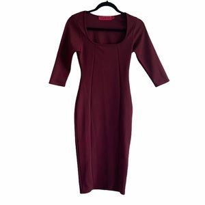 Boohoo Burgundy Bodycon Dress